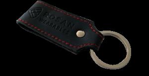 RW Black Leather Key Fob with Red Seam