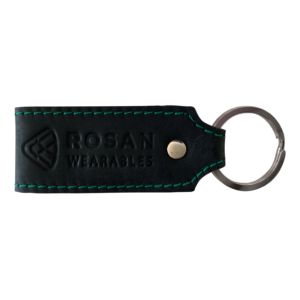 RW Black Leather Key Fob with Green Seam