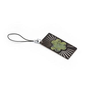 Brass Green Shamrock Key Fob